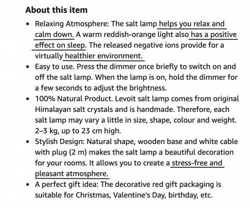 Product benefits of Salt Lamp